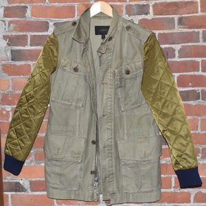 J. Crew Army Green Military Quilted Spring Jacket